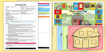 Three Little Pig House Building Game EYFS Adult Input Plan Resource Pack