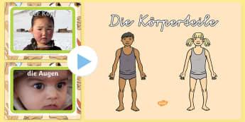 Körperteile PowerPoint - Körperteile Power Point, Körperteile, Der menschliche Körper, Unser Körper, Unser Körper Power