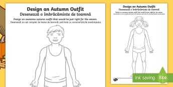Autumn Clothes Outfit Drawing Activity Sheets English/Romanian - Autumn, seasons, september, october, november, topics, ks1, harvest, EAL
