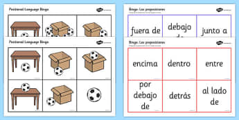 Spanish Positional Language Bingo