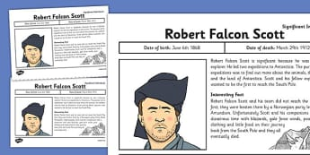 Robert Falcon Scott Significant Individual Fact Sheet - robert falcon scott