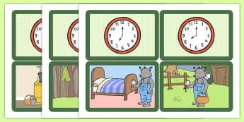 Cartes pour jeu de paires : What's the Time, Mr. Wolf ? (L'heure) - Anglais LV