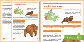 Canada's West Coast Fact File - Earth Day, Canada's West Coast, Canada, Environment, Geography, Social Studies, British Columbia, P