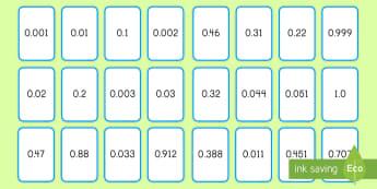 Comparing Decimals Game - comparing, ordering, decimals, place value, 5th grade, war, game