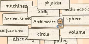 Archimedes Word Cards - archimedes, word cards, word, cards