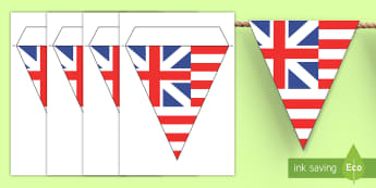 Grand Union Flag Display Bunting - Social Studies, History, Colonial America, Thirteen Colonies, Original U.S. Flag