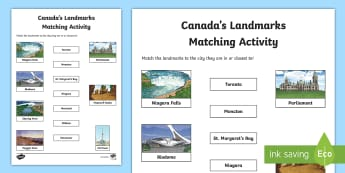 Canada's Landmarks Word and Picture Matching Activity Sheet - Canada, landmarks, tour, canadian, peggy's cove, niagara, montreal, toronto, CN Tower