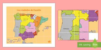 Tapiz de Bee Bot: Las ciudades principales de España - Mapas, provinicias, mapas mudos, mapas en blanco, las ciudades de españa, comarcas, concejos, comun