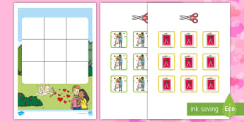Three in a Row Valentine's Day Activity - EYLF, Foundation, Game, Numeracy, Problem Solving, Counting, roses, hug, kiss, card, cupid, St Valen
