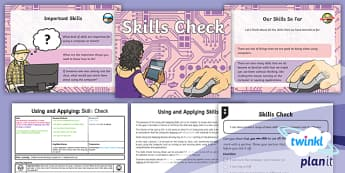 PlanIt Computing Year 1 Using and Applying Lesson 1: Skills Check Lesson Pack  - computer, skills, mouse, keyboard, monitor, using, applying, ks1, year 1, y1, year one,