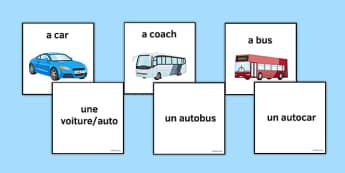 Les moyens de transport Jeu de cartes - french, modes of transport, les moyens de transport, matching cards, jeu de cartes