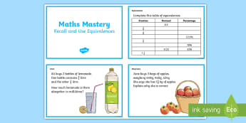 Year 6 Fractions Recall and Use Equivalences Maths Mastery Activities Challenge Cards  - Year 6 Maths Mastery, Year 6, Y6, fractions, decimals, percentages, equivalence, equivalences., pp,