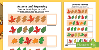 Autumn Leaf Sequencing Activity Sheet English/Spanish - worksheet, sequencing worksheet, autumn, leaf, autumn leaf sequencing, autumn sequencing, leaf seque