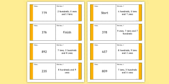 Three-Digit Number Place Value Loop Cards - Number and Place Value, problem solving, maths mastery, year 3, fun maths, hundreds, tens, ones, num