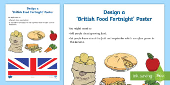 KS1 Design a Poster for British Food Fortnight Activity Sheet - 23rd September - 8th October 2017, nutrition, popular foods, seasonal food, year 1 and year 2, works