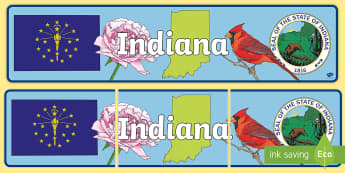 Indiana Display Banner - United States History, State history, Indiana, Indiana Symbols, Cardinal, State Seal, State Flag, Pe