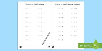 Dividing by Unit Fractions Activity Sheet - unit fractions, fractions, whole number, division, 5th grade, worksheet