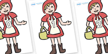 Numbers 0-50 on Little Red Riding Hood - 0-50, foundation stage numeracy, Number recognition, Number flashcards, counting, number frieze, Display numbers, number posters