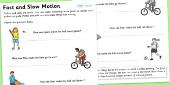 Ks2 Science, Forces and Motion, Worksheets, Motion - Page 1