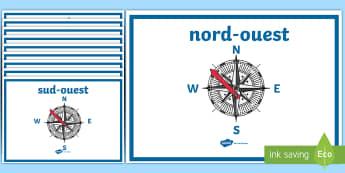 Poster d'affichage : les points cardinaux - Géographie, orientation, nord, est, ouest, sud, French
