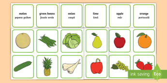 Fruits and Vegetables Matching Game English/Romanian - EAL,healthy eating, health, match, sort, vegtables, vegitables, healthy eatng, mathching EAL
