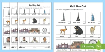 UAE Odd One Out Differentiated Activity Sheets - odd one out, UAE, landmarks, famous, indoor play, worksheet