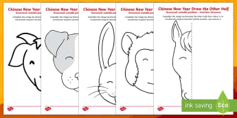Chinese New Year Story Animals Draw the Other Half Activity Sheet English/Romanian - Chinese New Year KS1. KS2, EYFS, Celebration, festivals, rooster,Romanian-translation