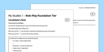 Mes études 1 Jeu de rôle Foundation Tier - french, Role Play, Foundation, Studies, School