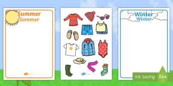Winter and Summer Clothes Sorting Activity English/German - EAL, hot, cold, weather, seasons, recognising, sun, snow