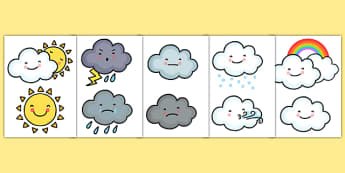 Weather Symbols Printable - Weather, Cut Outs, Weather Symbols, Weather Symbol Cut Outs , Weather Cut Outs