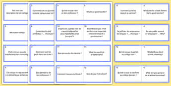 General Conversation Question Double Sided Cards French English Life at School College - french, Conversation, Speaking, Questions, School, College, école, Collège, Scolaire, Professeurs, Teachers, Uniform, Uniforme, Rules, Règles, Règlement, Journée