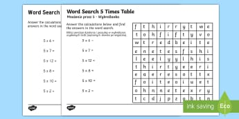 Multiplication 5 Times Tables Word Search Activity Sheet English/Polish - Multiplication 5 Times Tables Wordsearch Worksheet - multiplication wordsearch, times tables wordsea