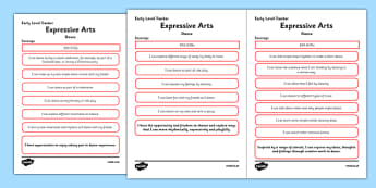 CfE Expressive Arts (Dance) Early Level Child Friendly Tracking-Scottish