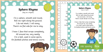 Sphere Rhyme - 3d, maths, shape space and measure, circle, singing, songtime