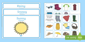 Weather Clothes Sorting Activity English/Spanish - clothes sorting activity, clothes, weather, seasons, clothes sorting, EAL