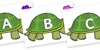 A-Z Alphabet on Tortoise - A-Z, A4, display, Alphabet frieze, Display letters, Letter posters, A-Z letters, Alphabet flashcards