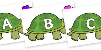 A-Z Alphabet on Tortoise - A-Z, A4, display, Alphabet frieze, Display letters, Letter posters, A-Z letters, Alphabet flashcards