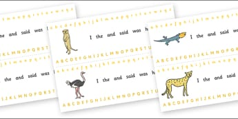 Alphabet Strips (Safari) - Alphabet, Learning letters, Writing aid, Writing Area, lion, cheetah, puma, jaguar, rhino, hippo, elephant, giraffe, antelope