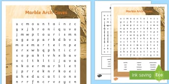 Marble Arch Caves Word Search - Northern Ireland, Marble Arch Caves, Fermanagh, caves, limestone, explorers, tourism