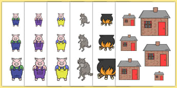 The Three Little Pigs Size Ordering - the three little pigs, size ordering, size, ordering, size and shape, shapes, size order, order worksheet, orders