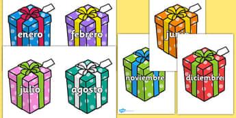 Pósters: Meses en regalos - spanish, months, birthday presents, birthday