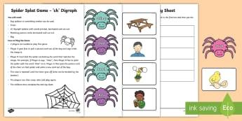 Spider Splat 'ch' Blends Game - Ch blends, Blending, Peer game, Sounding Out, Station teaching,Irish
