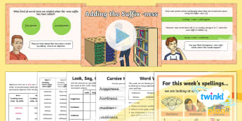 PlanIt Y5 Term 2A W2: Creating Nouns Using -ness Suffix Spelling Pack - Spellings Year 5, Y5, suffix, ness, suffixes, SPaG, GPS, weekly, lists,