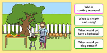 Barbecue Picture and Questions -Question words , Listening, Receptive language, expressive language, Language activity