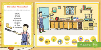 Pancake Day Can You Find...? Poster and Prompt Card Pack - German, Pancake Day, Baking, Cooking, pfannkuchen tag, German, Deutsch