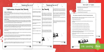 Christmas Around the World Differentiated Reading Comprehension Activity English/Hindi - traditions, stories, France, India, Japan, World, Festival, decoration, EAL