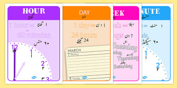 Units of Time Display Posters Urdu Translation - urdu, units of time, display, poster, sign, units, unit, time units, time, minute, second, hour, day, week, month, year