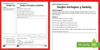 Problem Mathemateg Danfon Anrhegion y Nadolig Taflen Weithgaredd-Welsh - Christmas Wales - Welsh Medium, Problem Mathemateg, Danfon anrhegion Nadolig, Mathemateg Nadolig, Rh