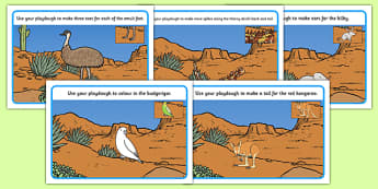 Australian Desert Animals Playdough Mats - australia, Science, Year 1, Habitats, Australian Curriculum, Desert, Outback, Living, Living Adventure, Environment, Living Things, Animals, Plants, Paydough Mats