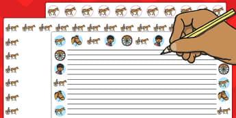 Horsie Horsie Landscape Page Borders - horsie horsie, page border